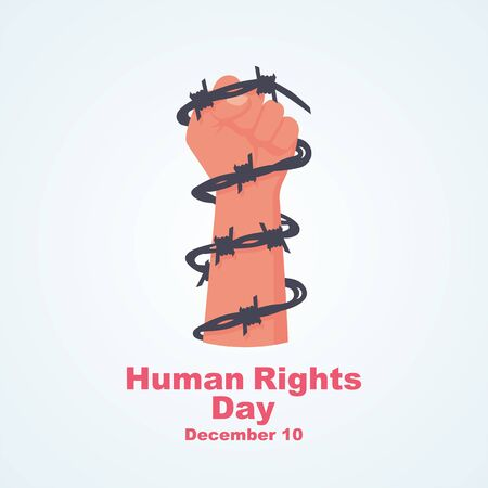 Human Rights Day. Landing page celebration December 10th