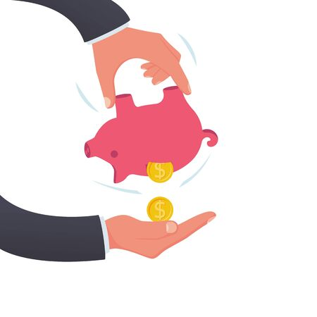 Human in hands shaking piggy bank. Fall money. Vector illustration flat design. Isolated on white background. Drop coins. Spending money. Poor man. Financial crisis.