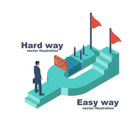 Hard and easy ways. Businessman standing at crossroads before choosing. Decide direction. Choice of ways. Vector illustration isometric style. 3d design landing page. Reaching the goal.