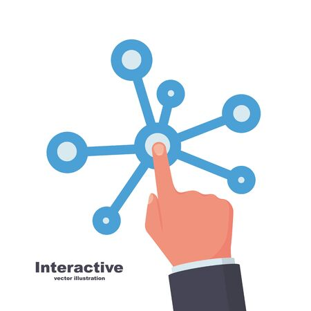 Interactive interface. Interaction technology. Vector illustration flat design. Isolated on white background. Hand presses the screen. Pointer on the pictogram. Page internet. Illusztráció