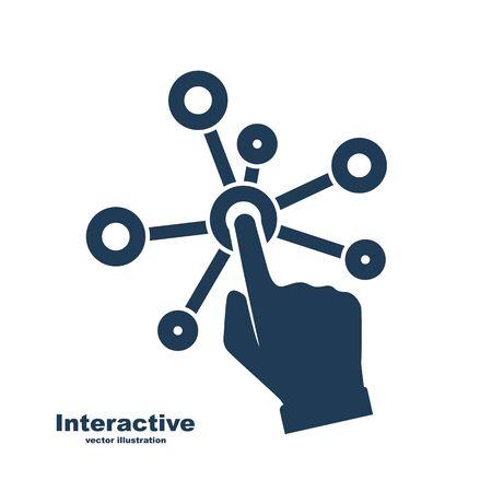 Icône de glyphe d'interface interactive. Technologie d'interaction silhouette noire. Design plat d'illustration vectorielle. Isolé sur fond blanc. Écran de presses à main. Pointeur sur le pictogramme. Page internet. Vecteurs