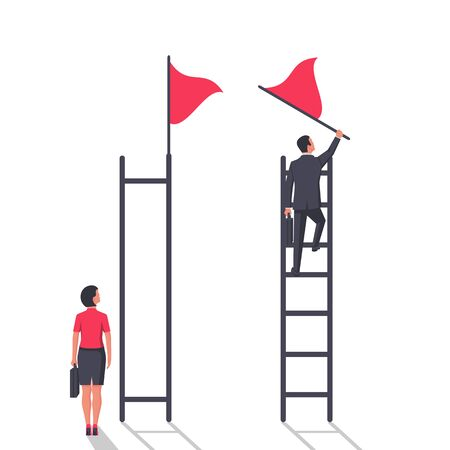 Businessman vs businesswoman on the career ladder
