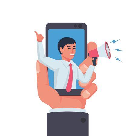 Digital advertising. Social advertising on the phone.