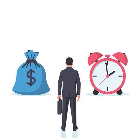Time money concept. Business decisions. Man faces a choice