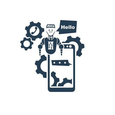Black silhouette chatbot on smartphone from technical support. Modern banner for the web site. Chatbot, artificial intelligence, customer support, hotline with bot. Vector illustration flat design.