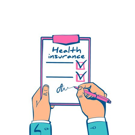 Health insurance claim form hold in hand. Healthcare concept. Vector illustration sketch design. Life planning. Medical clipboard claim form with pencil. Protection document.