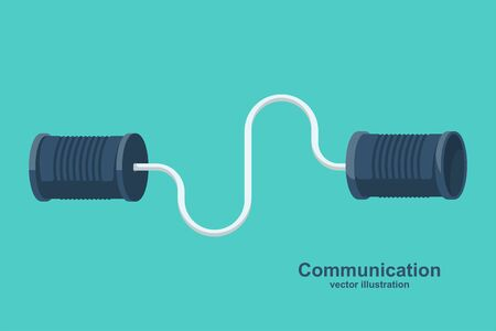 Tin can phone. Communication concept. Vector illustration flat design. Isolated on white background. Tin can telephone with cord.