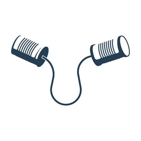 Zinn kann schwarzes Symbol anrufen. Kommunikationskonzept. Flaches Design der Vektorillustration. Isoliert auf weißem Hintergrund. Silhouette Blechdose mit Schnur telefonieren. Vektorgrafik