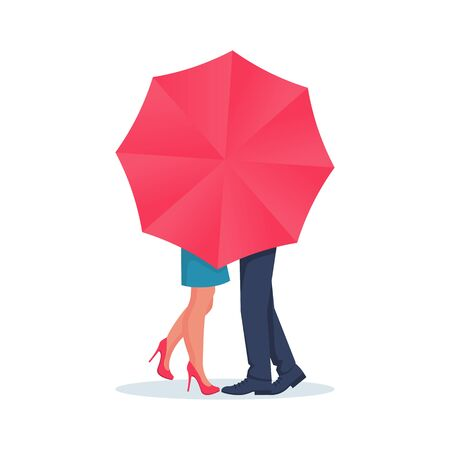 Amorous couple guy and girl kiss behind an umbrella. Love couple kiss, boy and girl. A romantic date for Valentines Day. Vector illustration flat design. Isolated on white background. Ilustração