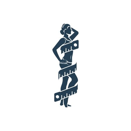 Black silhouette girl taking measurements of her body. Beautiful female athletic build measures centimeter of waist. Vector flat design. Health body. Diet, sport and fitness. Perfect slim young body.