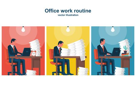 A group of people works in the office. Routine work in cabinet. People analyze the market. Work with paper documents and computers. Vector illustration flat design. Isolated on white background.