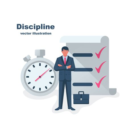 Self discipline concept. All deal and tasks are completed. Vector illustration flat design. Isolated on white background. Control management character. Modern man controlling himself.