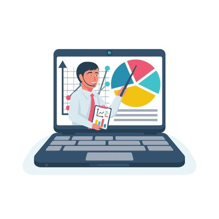 Business training. Webiner concept. Human with charts on laptop