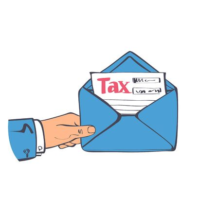Letter tax. Businessman holding in hand envelope with form of payment of taxes. Official government documents obtained by mail. Vector illustration sketch design style.