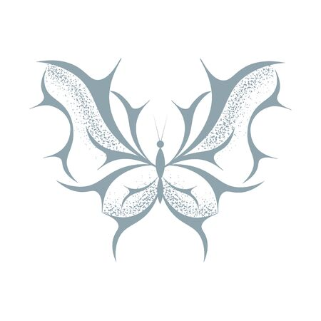 Signs with a beautiful flying butterfly. Can be used as logo, badge, tattoo, sticker, print, template.