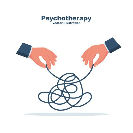 Psychotherapy concept. The therapists hands unravel the strings of a confused patient.