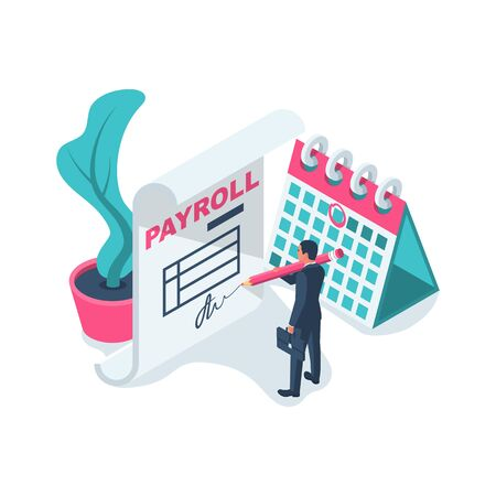 Payroll concept. Salary payment. Businessman signs a revenue sharing document. 일러스트