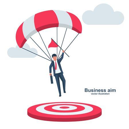 Homme d'affaires sur un parachute avec un drapeau atterrit sur la cible. Champion du symbole. Atteindre l'objectif commercial, concept. Design plat d'illustration vectorielle. Solution intelligente pour accomplir la mission. Viser la direction de la victoire.