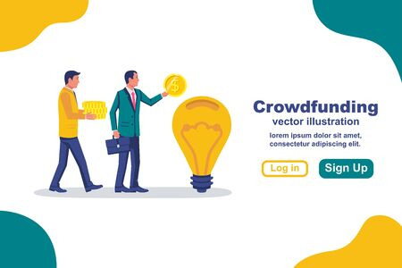 Landing page crowdfunding. Business model funding project. Crowd funding. Teamwork. Businessmen put money coins common idea. Vector illustration flat design. Isolated on background.