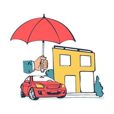 Concept security of property.Insurance home, car, money Illustration