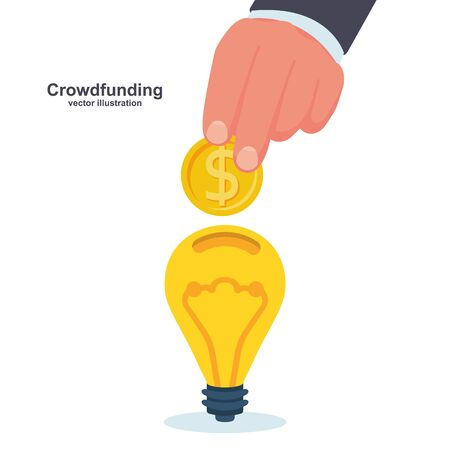 Crowdfunding concept. Business model funding project.