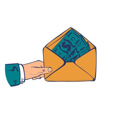 Money in envelope hold in hand businessman vector