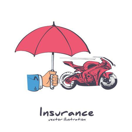 Insurance motorcycle. Vector illustration sketch design