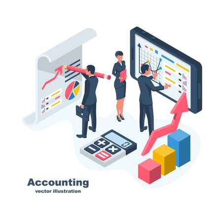 Accounting concept. Teamwork on accounting, planning strategy, analysis, marketing research, financial anagement. Businessmeeting teamwork brainstorming. Vector illustration isometric design.