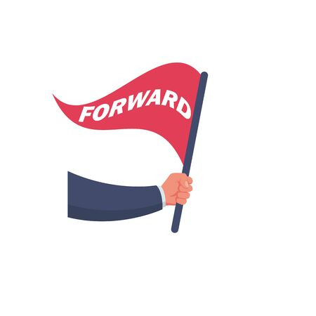 Flag forward in the hand of an ambitious businessman. Motivational template for victory. landing page web banner. Vector illustration flat design. Isolated on white background. Cartoon style.
