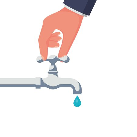 A person opens or closes a water tap. Clean, eco-friendly drinking water. Hand and crane. Save water icon. Vector illustration flat design. Isolated on white background. Care for saving resources. Ilustração Vetorial