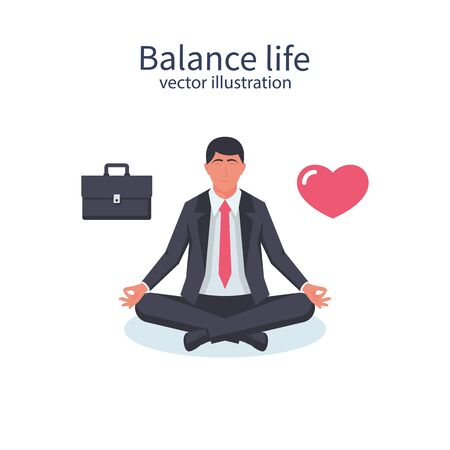 Balance life and work. Businessman sitting meditate and chooses between business love and home. Heart and briefcase. Vector illustration flat design. Isolated on white background. Career and lifestyle