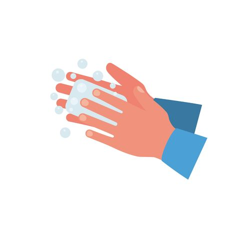 Wash hands. Man holding soap in hand in soap bubbles.