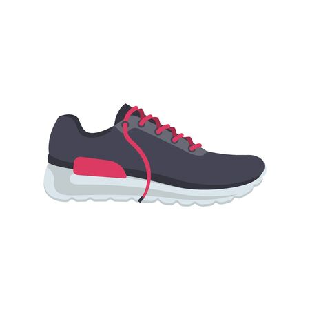 Sports shoes cartoon icon. Fashionable stylish woman sneakers with pink shoelaces. Time for running and fitness. Vector illustration flat design. Isolated on white background.  イラスト・ベクター素材