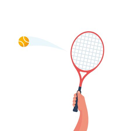 Tennis racket in the hand. Yellow ball in flight. Sports lifestyle. Vector illustration flat design. Template for sports background. Landing page.   Ilustração