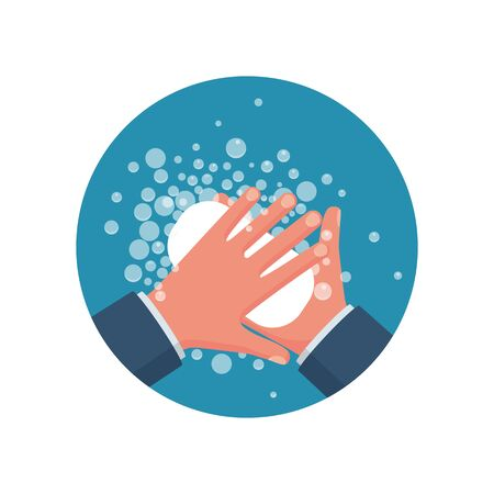 Wash hands. Man holding soap in hand in soap bubbles. Vector illustration flat design isolated on background. Personal hygiene. Disinfection, skin care. Antibacterial washing