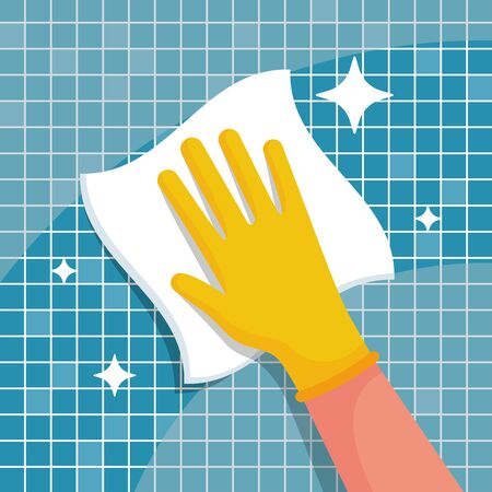 Man with a rag will wipe tiles in the bathroom. Housekeeping concept. Ilustración de vector