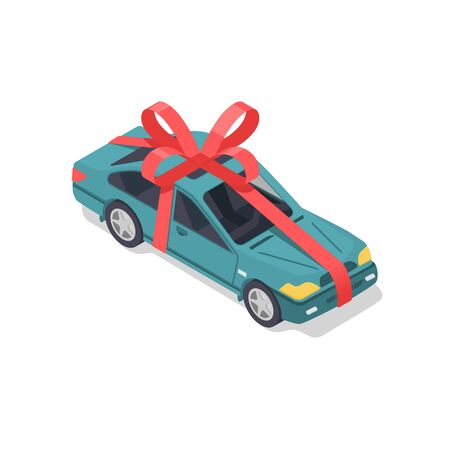 Car with a red ribbon and a bow in isometric style. Car gift concept.