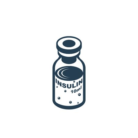 Insulin ampoule glyph icon. Black silhouette medical vaccine. Bottle of solution. Vector illustration flat design. Isolated on white background. Dosage for diabetics. Medical preparations.