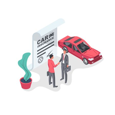 Car insurance form. Businessmen sign an insurance form. Shaking hands on a deal. Legal document auto insurance. Vector illustration 3d isometric design. Isolated on white background.