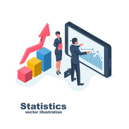 Business statistics. Business people man and woman analyze data. Consulting, analysis concept. Vector flat isometric design. Isolated on white background. Financial administration.