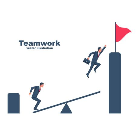 Teamwork concept web template landing page. Man jumps on a catapult to help a partner. Together rise on mountain with flag. Collaboration concept. Vector design. Work together to achieve goal.