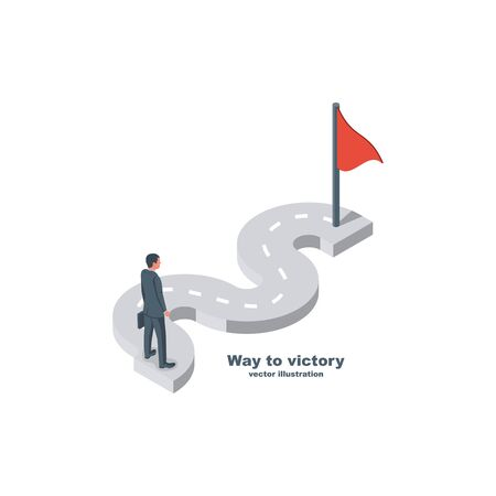 Way to victory. Businessman is standing on a winding road. Flag at the finish. Vector illustration 3d isometric design. Isolated on background. Achieving goal.