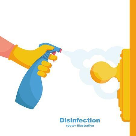Close-up disinfection of door handles vector Vetores