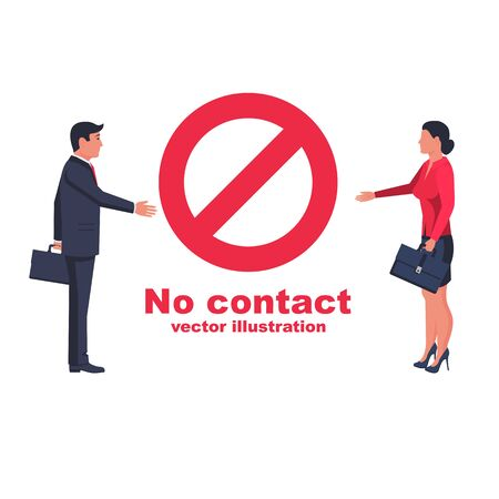 Do not contact. No handshake. Red prohibition sign