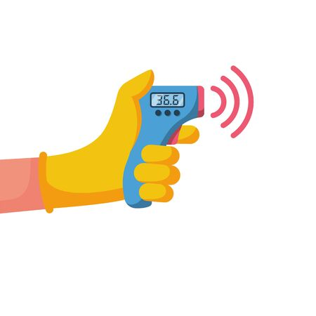 Digital non-contact infrared thermometer in hand doctor. Medical thermometer measuring body temperature. Vector flat design. Isolated white background. Prevention of coronavirus disease 2019-nCoV.