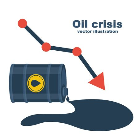 World oil crisis. Barrel of gasoline and spilled oil as a symbol of falling value