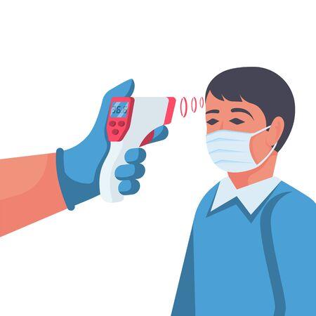 Temperature check. Doctor holding a non-contact thermometer in hand Ilustración de vector