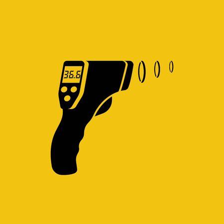 Black silhouette digital non-contact infrared thermometer Vektorgrafik