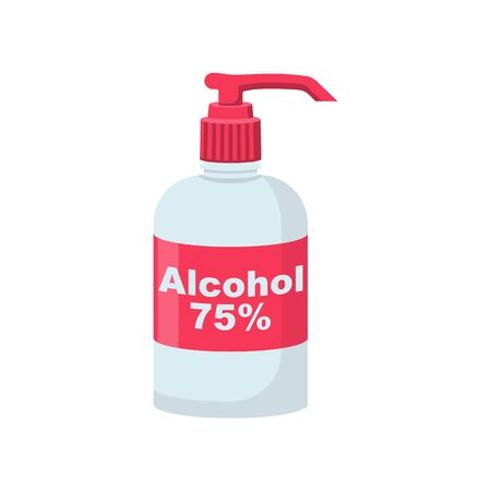 Bottle of antibacterial alcohol 75 . Sanitary product for personal hygiene, hand washing. Hygienic gel in public place. Prevention coronavirus covid-19. Alcohol liquid flat icon. Vector illustration. Illustration