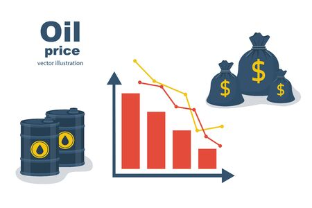 Barrel of oil, dollars and graph. The fall of the oil market. The price of oil. Landing page Vector illustration.